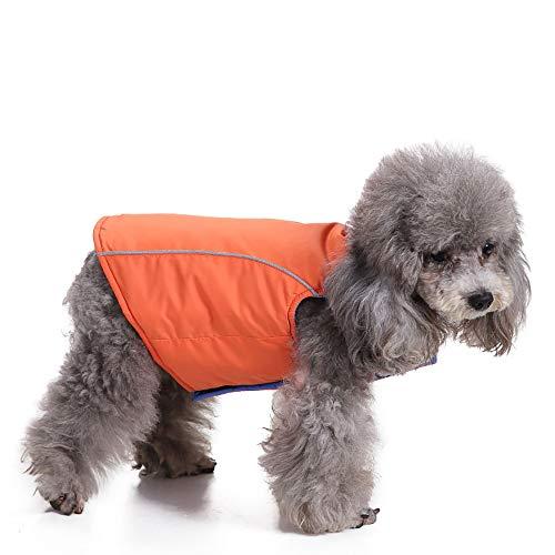 Amphia - Haustier Hund trägt Jackenmantel auf beiden Seiten,Haustier Hund Katze Welpen Winter warme Kleidung Kostüm Jacke Mantel Kleid(Orange,M) (Die Katze Im Hut Weibliche Kostüm)