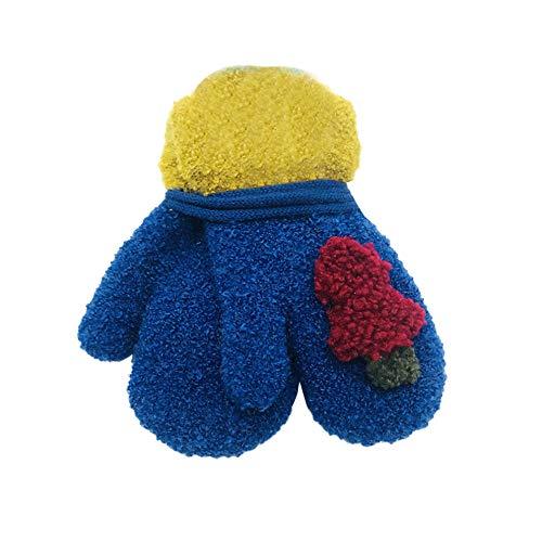 Huihong Kinder Winter Handschuhe 1-6 Jahre Weihnachtsbaum Drucken Volle Finger Niedlich Warme Handschuhe (Blau) (6 1 2 Weihnachtsbaum)