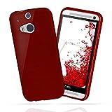 moex HTC One M8 | Hülle Silikon Dunkel-Rot Brushed Back-Cover TPU Schutzhülle Ultra-Slim Handyhülle für HTC One M8/M8s Case Dünn Silikonhülle Rückseite Tasche