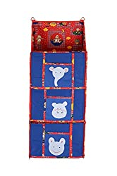 Baby Grow 3 Step Kids Toys Cloth Stoarge Hanging Rack Cute Color Cotton Cupboard (BLUE)