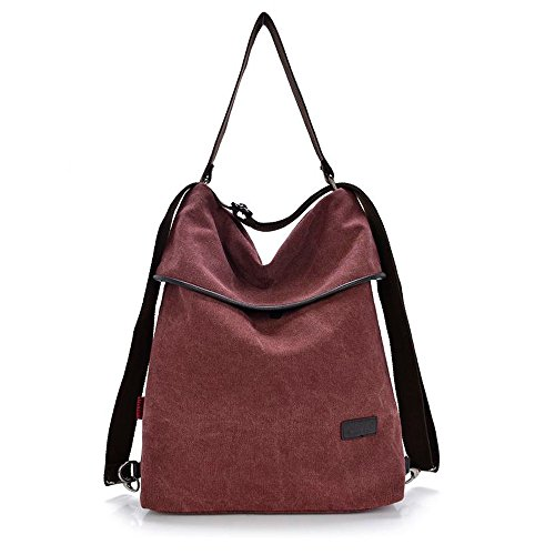 HingyuTing Vintage Canvas Women Shoulder Bag Retro Backpack Daypack Multifunctional Bag for Work, School and Casual Daily