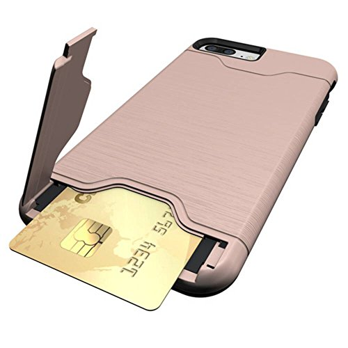 YHUISEN Neue Dual Layer Brushed Matte PC Armor + Robustes TPU Doppelter Schutz Slim Case Cover Folding Ständer Card Slot für iPhone 7 plus ( Color : Dark Blue , Size : IPhone 7 Plus ) Rose Gold