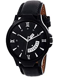 Axton Black Dial Analog Leather Striped Watch for Men and Boys