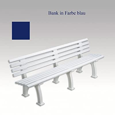 Kunststoffbank, Gartenbank, Parkbank, Bank, blau, 200 cm