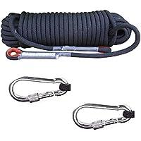 Knowing 20M*8MM Cuerda Escalada Profesional Cuerda de Seguridad con 2 Mosquetones para Usos Al Aire Libre Emergencia Supervivencia Camping Caza Pesca (Negro)