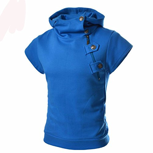Men's Oblique zipper Slim Fit Short Sleeve Casual Solid Sweatshirts