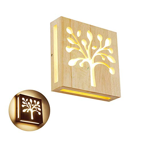 NWLAMP Applique da Parete Minimalista per Interni Plug-in, Lampada da Parete a LED, Lampada da Comodino Decorativa, Base in Legno, Applique a Parete per Camera da Letto Armadio (Design : Tree)