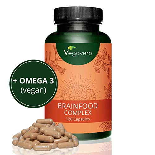NUEVO! Brainfood Complex Vegavero | Memoria + Concentración + Energía Mental + Estudio | DHA (Omega 3) + Ginseng +...