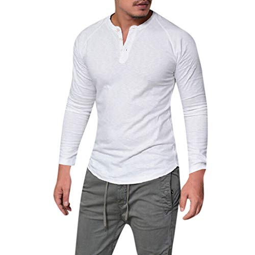Yazidan Herren Leinen Hemd Sommer Henley Shirts Langarm Business Stehkragen Regular Slim Fit Freizeithemden Hemden Tops Pullover Strand-Hemden