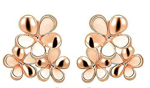 AMDXD Jewelry vergoldete Ohrstecker für Damen, Ohrklemmen, Rosengold, Blumenstrauß-Ohrringe, 2,1 x 2 cm