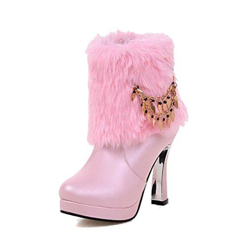 VogueZone009 Damen Hoher Absatz Eingelegt Rund Zehe Ziehen Auf Stiefel Pink