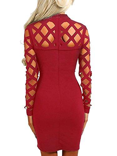 Baymate Femme Robe Moulante Bandage Élégant Hollow Out Bodycon Partie Tenue Mini-Robe Rouge