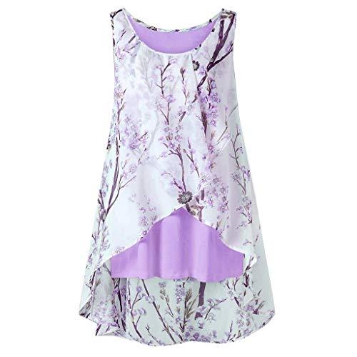 MRULIC Geschenk Zum Muttertag Frauen Sleeveless Chiffon Solide Weste Bluse Tank Tops Camis Kleidung (A-Violett,EU-44/CN-XL)