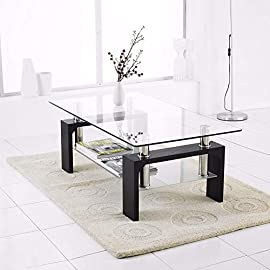 TUKAILAI Rectangle Clear Glass Coffee Table Modern Side Table with Lower Shelf Chrome and MDF Support Living room Guest Reception Room Table White