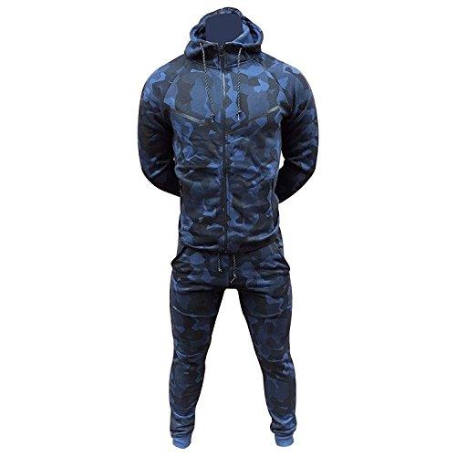 Herren Essentials Contrast Trainingsanzug Fleece Kapuzenpullis Jogginghose Jogginghose Gym Set (Small, Camo Navy)