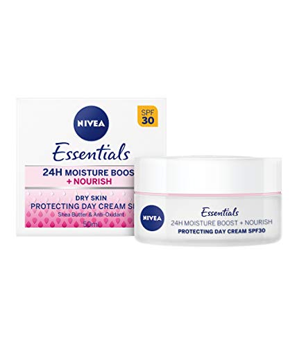 NIVEA Essentials Tagespflege 24h Feuchtigkeit + Reichhaltigkeit im 2er Pack (2 x 50 ml), Feuchtigkeitscreme mit LSF 30, Tagescreme für trockene und sensible Haut - Trockene Haut Lsf 30 Feuchtigkeitscreme