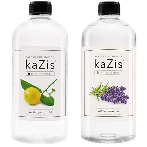 KAZIS Duft-Set I Passend für alle katalytischen Lampen I Zitrone + Lavendel I 2 x1 Liter I Nachfüll-Öl I 2 x 1000 ml I 2 x 1 Liter