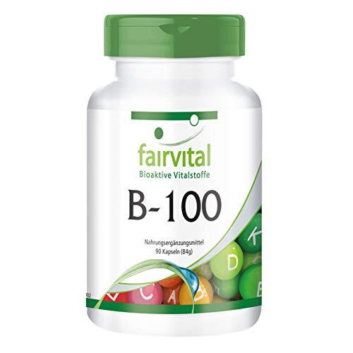 Vitamin B Komplex Kapseln - Alle B-Vitamine in ihrer bio-aktiven Form - Besonders HOCHDOSIERT - 90 Kapseln