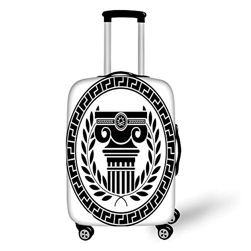 Suitcase Protector,Toga Party,Hellenic Column and Laurel Wreath Heraldic Symbol with Olive Branch Graphic Decorative,Black White,for TravelL 25.9x37.8Inch ()