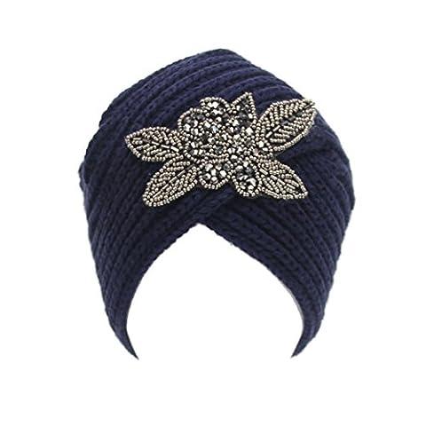 Saingace Mode Kappe Art- und Weisefrauen-Winter-warme Strick-Häkelarbeit-Ski-Hut-umsponnene Turban-Kopfschmuck-Kappe (Marine)
