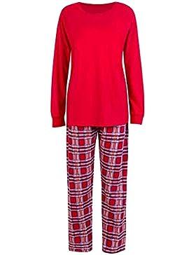 Hzjundasi Navidad Conjunto de Pijamas a Juego Familiar Manga Larga Blusa y Tartán Pantalones - Xmas PJs Ropa de...