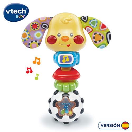 VTech- Toby Perrito Sonajero electrónico con luz y Voz Que Activa Sonidos y melodías al moverse, Incluye Dos Anillas para manipular y desarrollar la motricidad, (3480-184722)