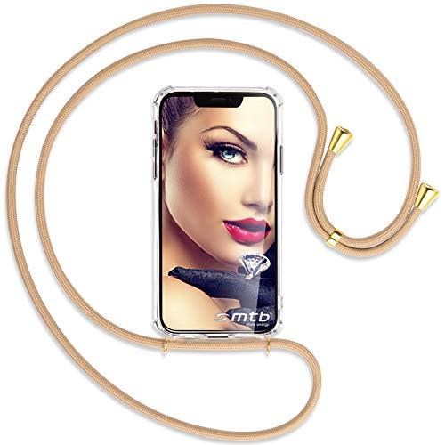 mtb more energy® collana smartphone per huawei nova 5t / honor 20 (6.26'') - beige/oro - custodia indossabile per collo - cover con cordoncino tracolla