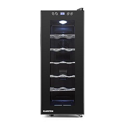 Klarstein Vinamora Wine Cooler Refrigerator Fridge (35 Liter, 12 Bottles, 5 Removable Shelves, Switchable Interior LED Touch, LCD with Temperature Display) Black