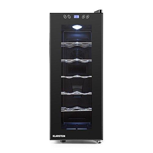 Klarstein Vinamora • frigorifero per vini e bevande • gastronomico • 35 L • 12 bottiglie • 5 cassetti in acciaio inox • illuminazione a LED • autonomo • silenzioso • display LCD • nero