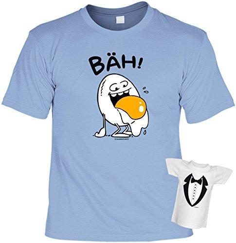 Fun T-Shirt Bäh Ei Shirt bedruckt Geschenk Set mit Mini Flaschenshirt Hellblau