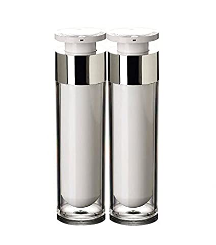 2PCS 15ml/30ml/50ml White Empty Portable Refillable High-grade Acrylic Airless Vacuum Pump Bottle Vial Travel Cream Lotion Toner Container Pot (50ml/