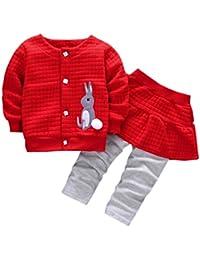 2pcs Bebé chaqueta , Yannerr niños niñas otoño invierno conejo impresión Tops abrigo + pantalones ropa conjuntos caliente