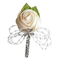 Elegant Rose Flower Shiny Rhinestone Beaded Brooch Pin Wedding Party Jewelry - Cream White rycnet