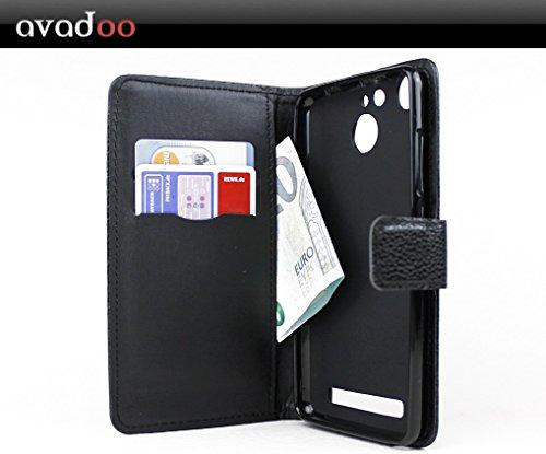 avadoo® Archos 50f Helium Lite Flip Case Cover Tasche Schwarz mit Magnetverschluss & Dualnaht als Cover Tasche Hülle