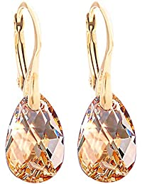 GIFT BOXED! Women's 16mm Golden Shadow Crystals From Swarovski® Drop Pear Earrings. Genuine Vermeil: 24K Gold Over Sterling Silver. Stamped 925. 3gr Total Weight.