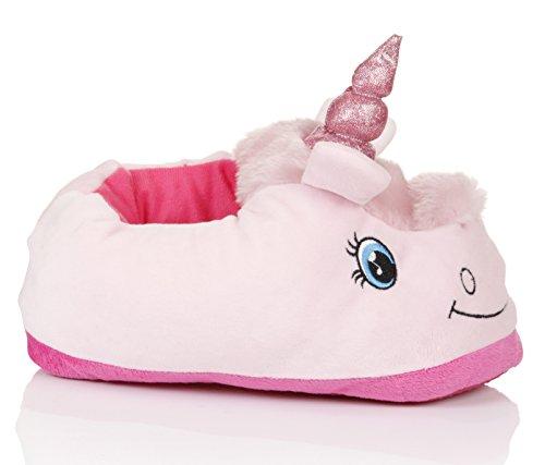 Nette Damen, Frauen, Mädchen Neuheit 3D-Tierhausschuhe verschiedene Arten, Größen 36-43 rosa Einhorn