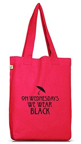 Shirtstreet24, AHS - On Wednesdays, Jutebeutel Stoff Tasche Earth Positive (ONE SIZE) Hot Pink