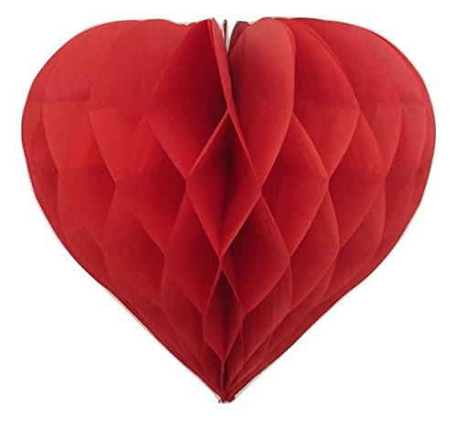 Confezione di 3decorazione di san valentino a forma di cuore di carta a nido d' ape festa di compleanno di nozze, disponibile in 11colori, 3misure, all red, 12