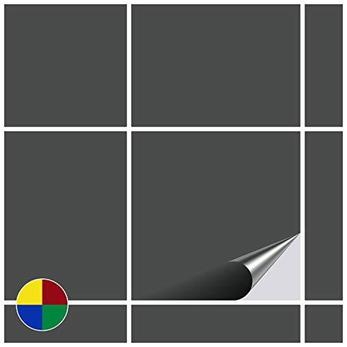 FoLIESEN Fliesenaufkleber für Bad und Küche - 15x15 cm - dunkelgrau matt - 80 Fliesensticker für Wandfliesen