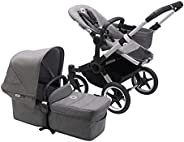 Bugaboo Donkey3 Mono Complete Stroller, Alu/Grey Melange, aluminium/grey melange-grey blend