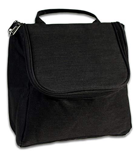 Vetrineinrete® Beauty case da viaggio organizer per cosmetici accessori da bagno chiusura con zip cofanetto per trucchi con gancio da appendere 64035 M47 (Nero)