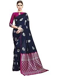 ca5b6f586 Soru Fashion Women s Kanjivaram Soft Silk Saree with Blouse Piece  (Cott-786 Dark Blue)