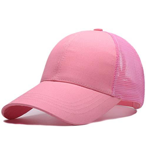 Amkun Baseball-Cap / Mütze zum Tragen eines Pferdeschwanz, unordentlicher Pferdeschwanz, verstellbar, aus Netzstoff, Outdoor-Mütze, Fernlastfahrer-Mütze, für Damen und Herren rose