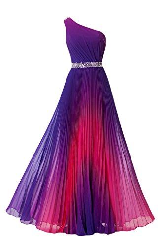 Missdressy Damen Chiffon A-Linie Abendkleid Ein-Schulter Lang Steine-36-Violett