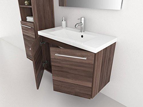 Waschtischunterschrank 50 / 80 cm breit Eiche Trüffel und Weiß Waschbeckenunterschrank Unterschrank Badmöbel-Set hängend Sieper Elva (Eiche Trüffel, 80) - 2