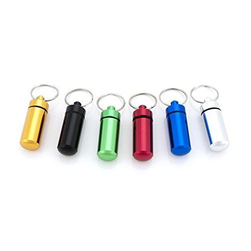 (Preis/6PCS) Aspire Tragbarer Mini Pille Halter Key Ring 6/Pack, 2–3/10,2cm L x 3/10,2cm W, sortiert, 2-3/4