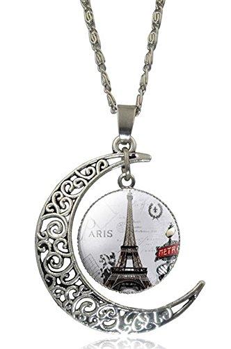 SaySure - Vintage Paris Eiffel Tower Crescent Moon Glass Cabochon