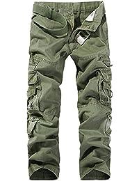 LaoZan Cargohose Herren Freizeithose Kampfhose Arbeitshose Mehrere Tasche c02d685ae9