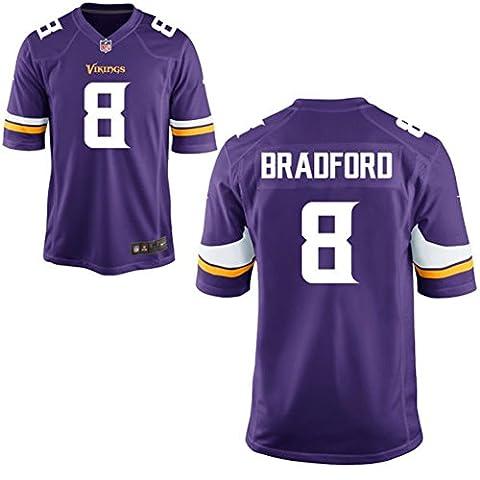 8 Sam Bradford Trikot Minnesota Vikings Jersey American Football Shirt Youth Purple Size XL