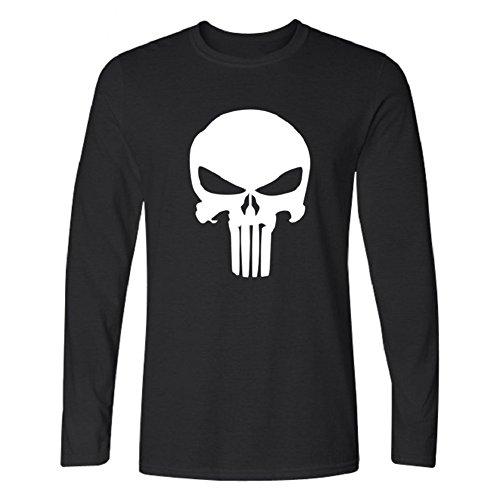 BOMOVO Herren THE PUNISHER T-Shirt Mit Rundhalsausschnitt, Langärmlig Schwarz